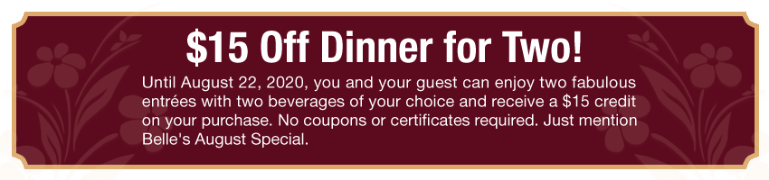 coupon for $15 off dinner for two